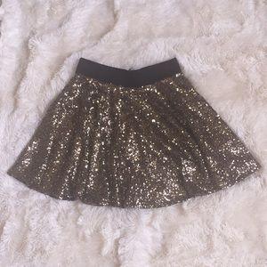 Gold sequin frilly skirt